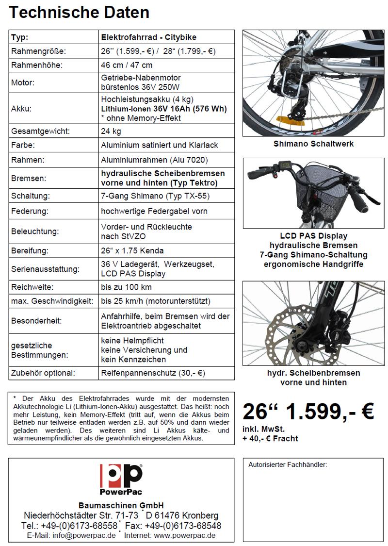 powerpac fahrrad citybike pedelec elektrofahrrad e bike. Black Bedroom Furniture Sets. Home Design Ideas